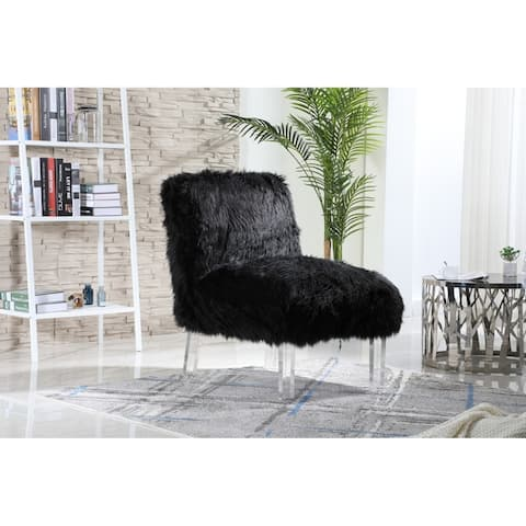 Chic Home Fulvio Sleek Faux Fur Upholstered Accent Chair