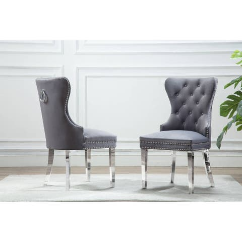 Best Quality Furniture Button Tufted Velvet Dining Chair