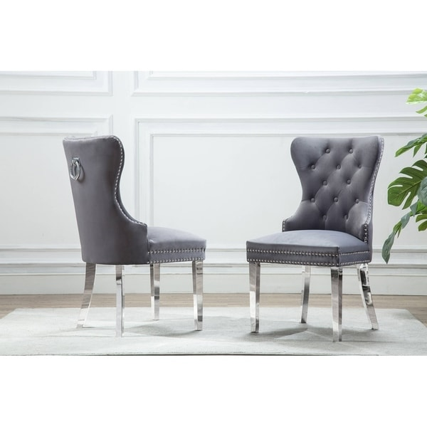 Best Quality Furniture Button Tufted Velvet Dining Chair with Nailhead Trim. Opens flyout.