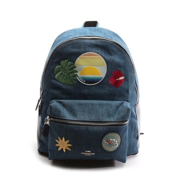 48fe2f54a4 Shop Coach Women's Charlie Hawaiian Patches Denim Blue Backpack - Free  Shipping Today - Overstock - 28416715