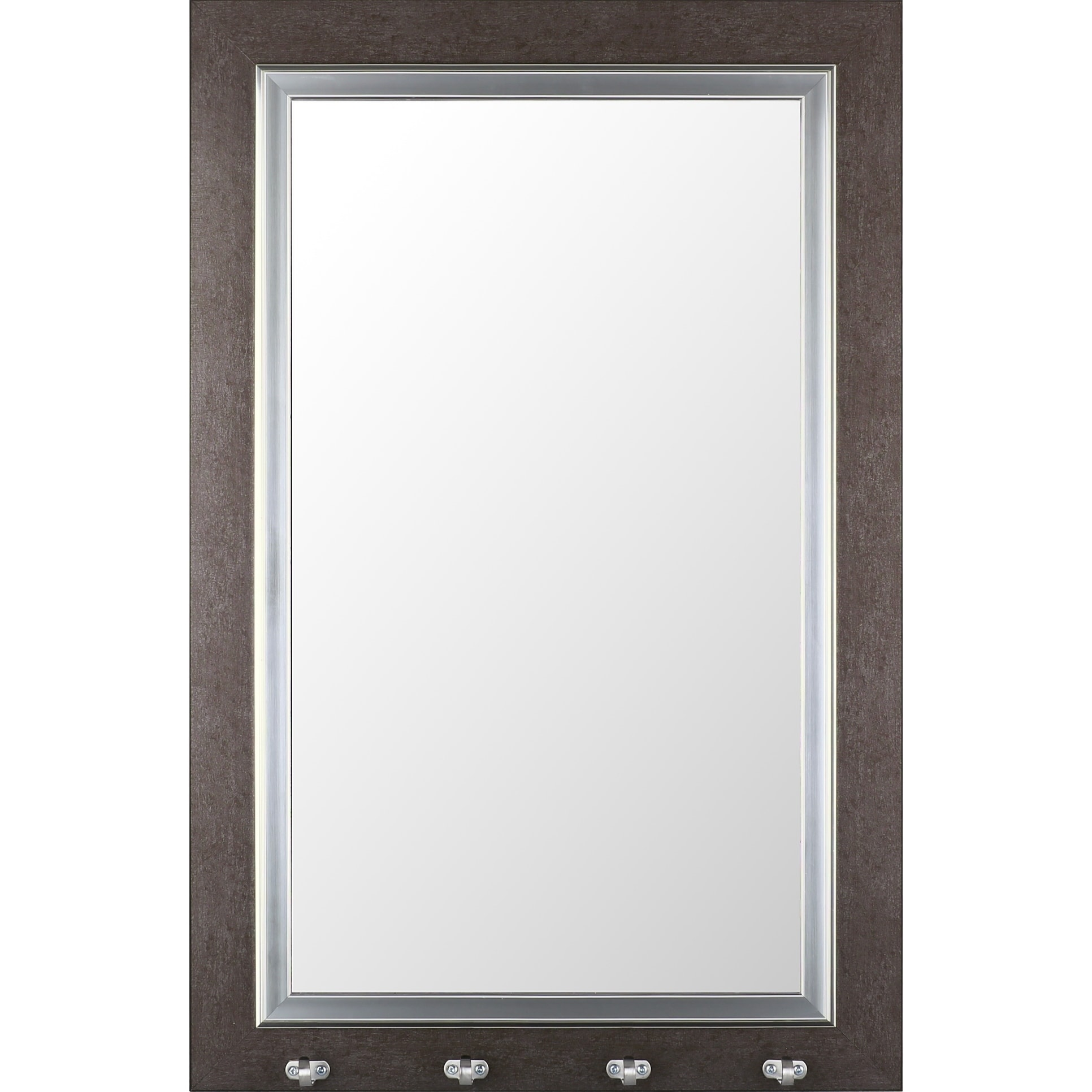 Framed Decorative 22x35 Entryway Mirror With Hooks Silver Rectangle