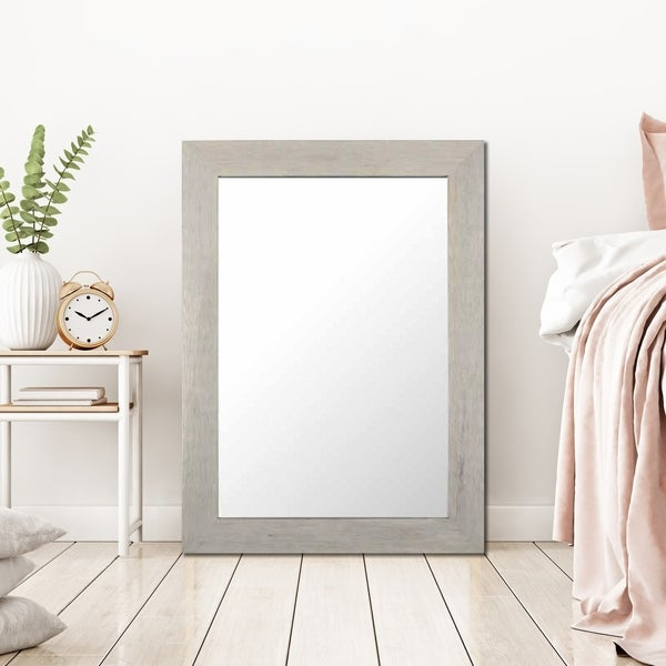 Porch & Den Off-White Wash Real Wood Framed Mirror 23x32 inches - Off White
