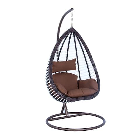 LeisureMod Indoor Outdoor Wicker Hanging Egg Swing Chair in Brown