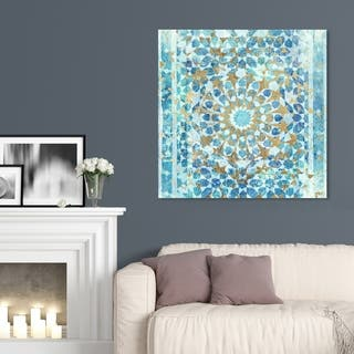 The Curated Nomad 'Incense Mandala' Blue Abstract Wall Art Canvas Print