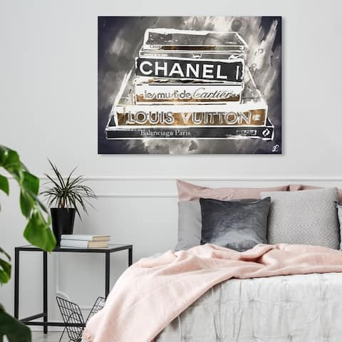 Oliver Gal 'Lectures Grey' Fashion and Glam Wall Art Canvas Print - Gold, Gray