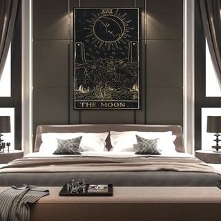 Oliver Gal 'The Moon Tarot' Spiritual and Religious Wall Art Canvas Print - Black, Gold