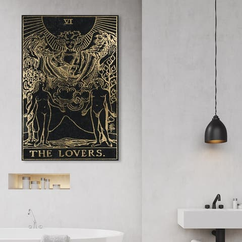 Oliver Gal 'Ther Lovers Tarot Gold' Spiritual and Religious Wall Art Canvas Print - Gold, Black