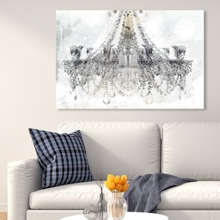 Oliver Gal 'White Gold Diamonds' Fashion and Glam Wall Art Canvas Print - Gray, White