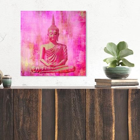 Oliver Gal 'Buddha Pink' Spiritual and Religious Wall Art Canvas Print - Pink, Orange