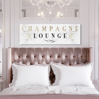 Oliver Gal 'Champagne Lounge' Advertising Wall Art Canvas Print - White, Gold