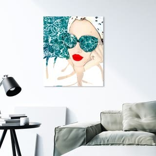 Oliver Gal 'MariPily' Fashion and Glam Wall Art Canvas Print - Blue, Red