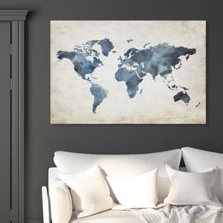 Oliver Gal 'Mapamundi New Worlds v2' Maps and Flags Wall Art Canvas Print - Blue, Brown