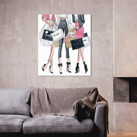 Oliver Gal 'Shopping Date' Fashion and Glam Wall Art Canvas Print - Pink, Black
