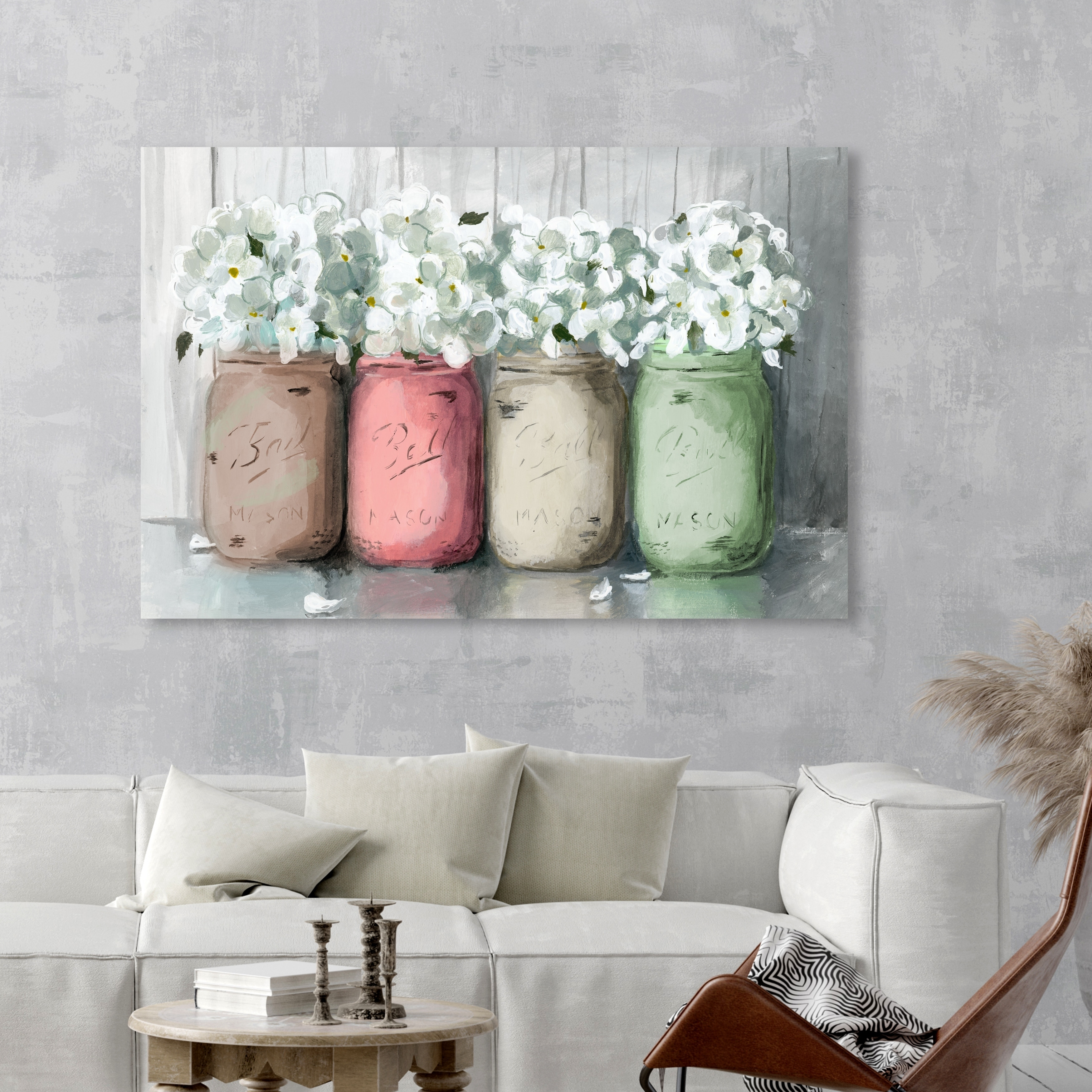 Shop Oliver Gal Mason Jar Muted Floral And Botanical Wall Art Canvas Print White Gray Overstock 28416913