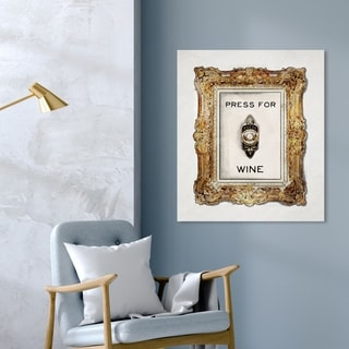 Oliver Gal 'Press For Wine' Drinks and Spirits Wall Art Canvas Print - Gold, Black