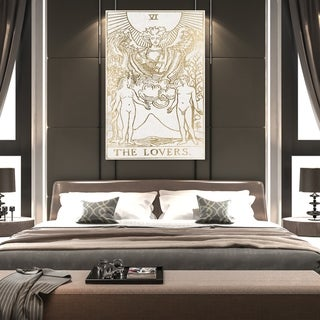 Oliver Gal 'The Lovers Tarot Luxe' Spiritual and Religious Wall Art Canvas Print - Gold, White