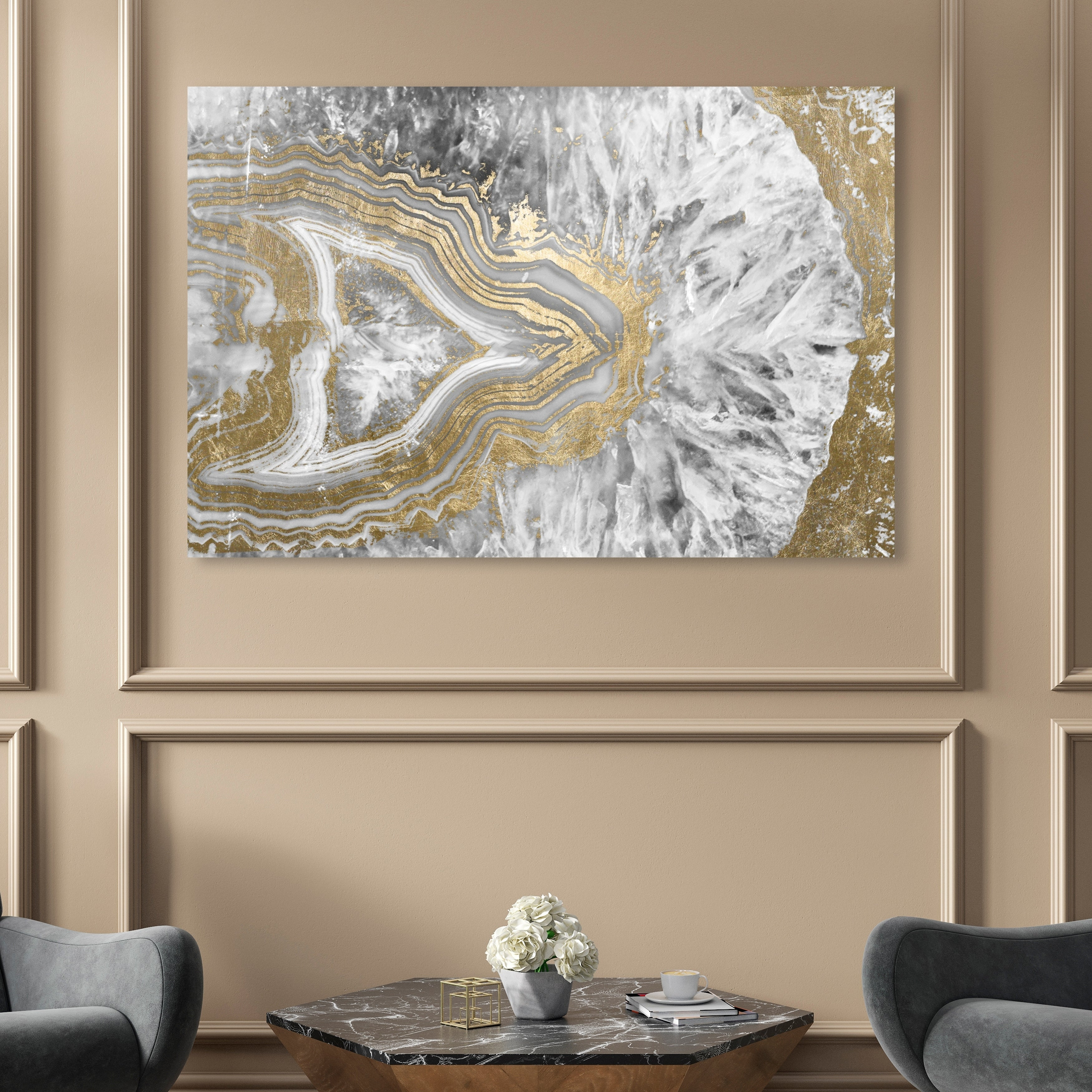 Oliver Gal Agate Geode Crystal Abstract Wall Art Canvas Print Gold White On Sale Overstock 28416929