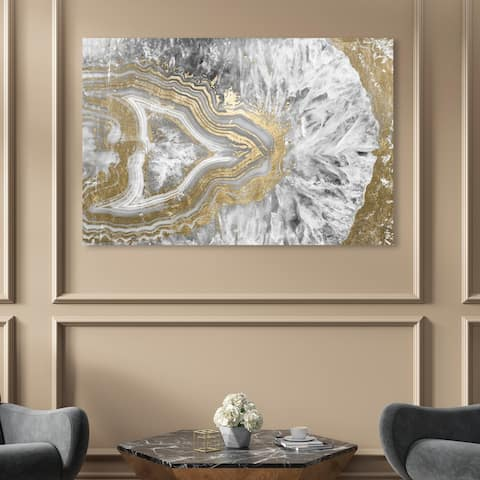 Oliver Gal 'Agate Geode Crystal' Abstract Wall Art Canvas Print - Gold, White