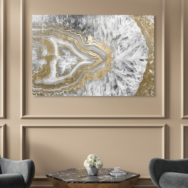 Oliver Gal 'Agate Geode Crystal' Abstract Wall Art Canvas Print - Gold, White. Opens flyout.