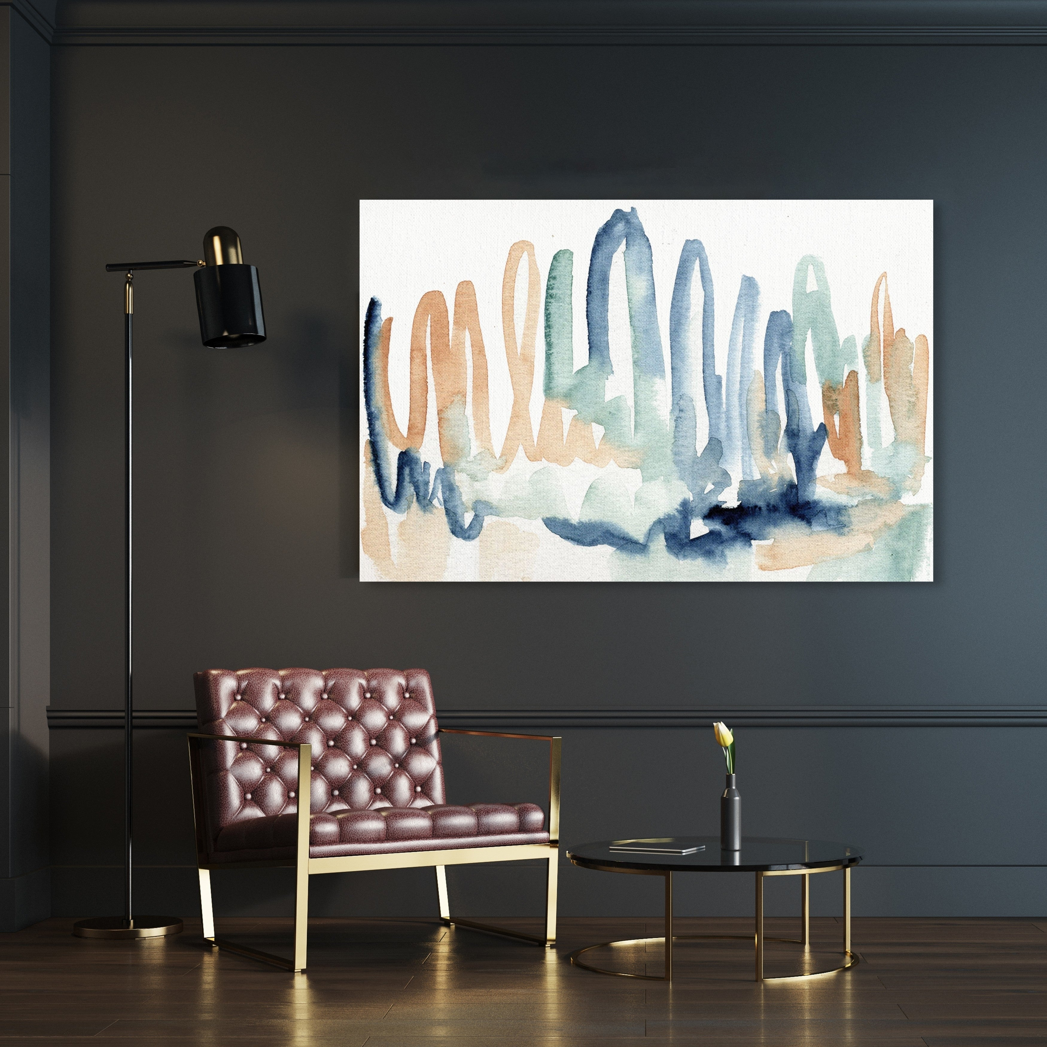 Oliver Gal Seaglass Thoughts Abstract Wall Art Canvas Print Blue Orange Overstock 28416935