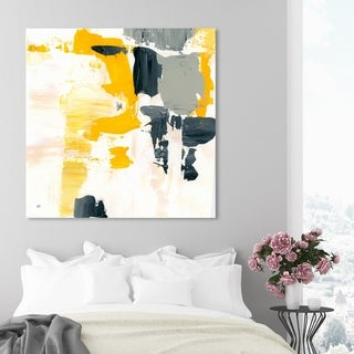 Oliver Gal 'Gris Mostaza' Abstract Wall Art Canvas Print - Yellow (As Is Item)