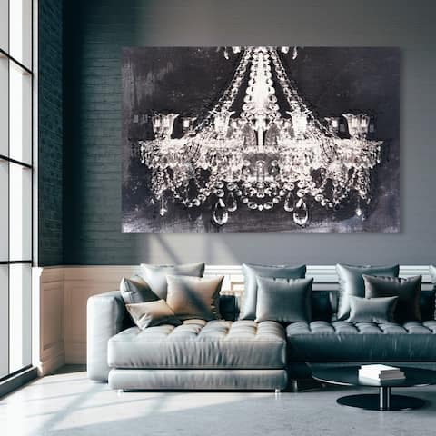 Oliver Gal 'Dramatic Entrance Night' Fashion and Glam Chandeliers Wall Art Canvas Print - White, Black