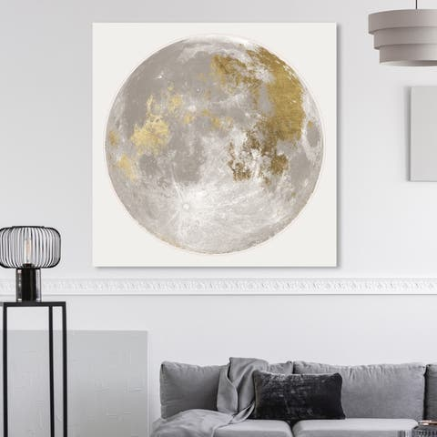 Oliver Gal 'Moon Light I' Astronomy and Space Wall Art Canvas Print - Gold, White