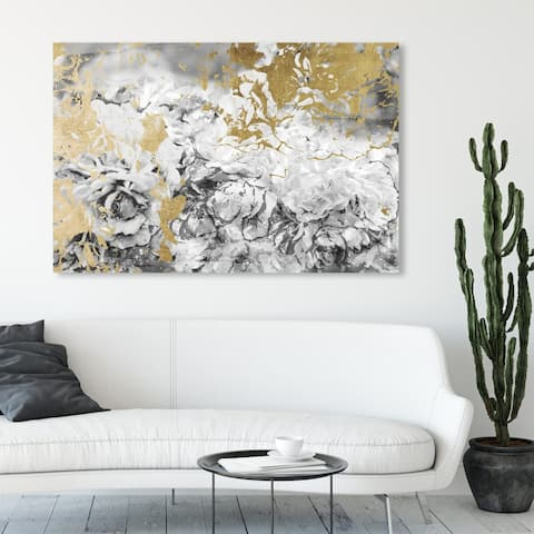 Oliver Gal 'Silver and Gold Camellias' Abstract Wall Art Canvas Print - Gray, Gold
