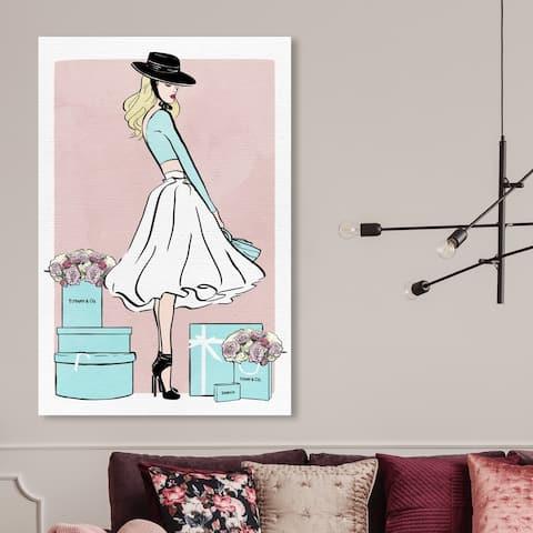 Silver Orchid 'Floral Shopper Blush' Fashion and Glam Wall Art Canvas Print