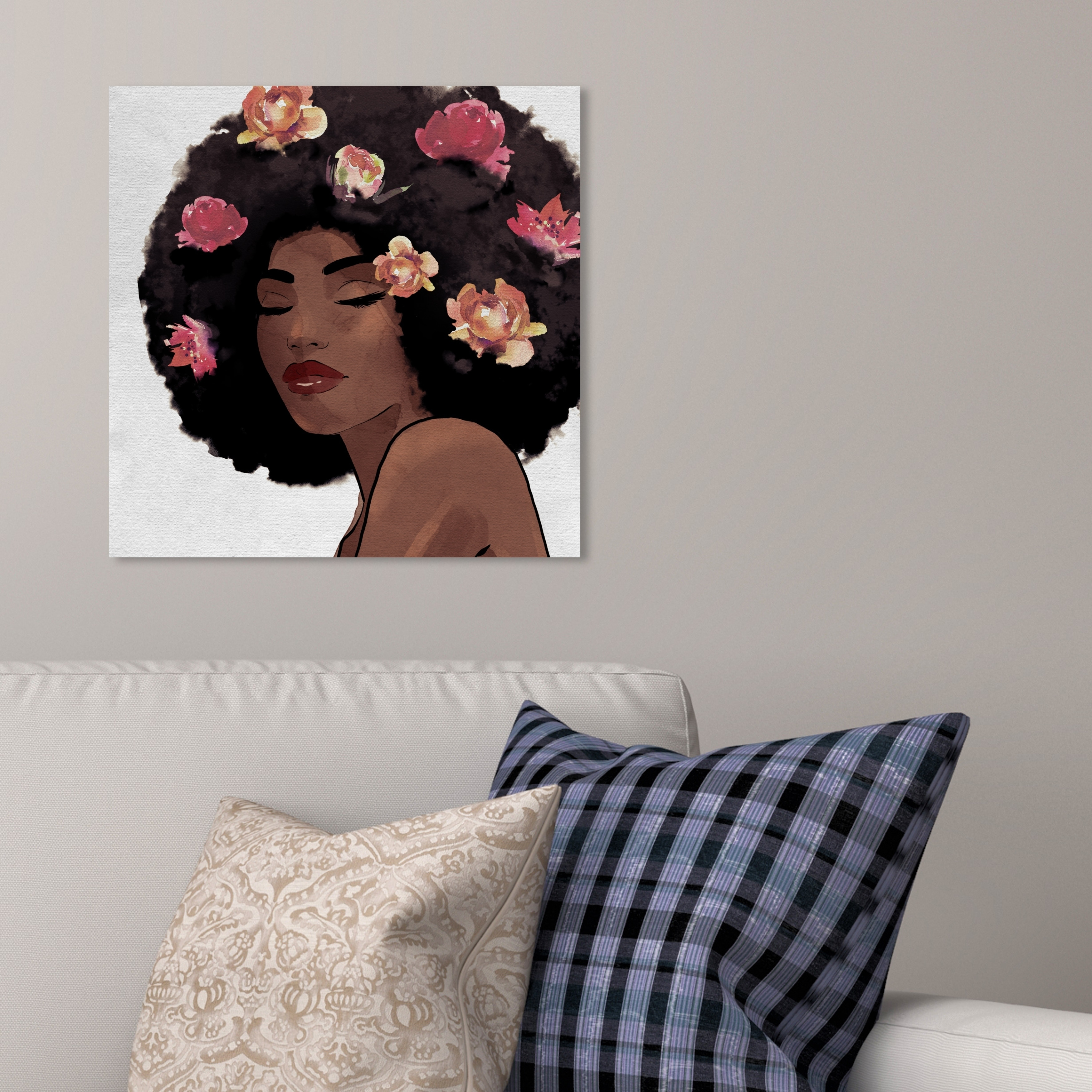 Art for the Home Fashion /& Flowers Glitter Printed Canvas