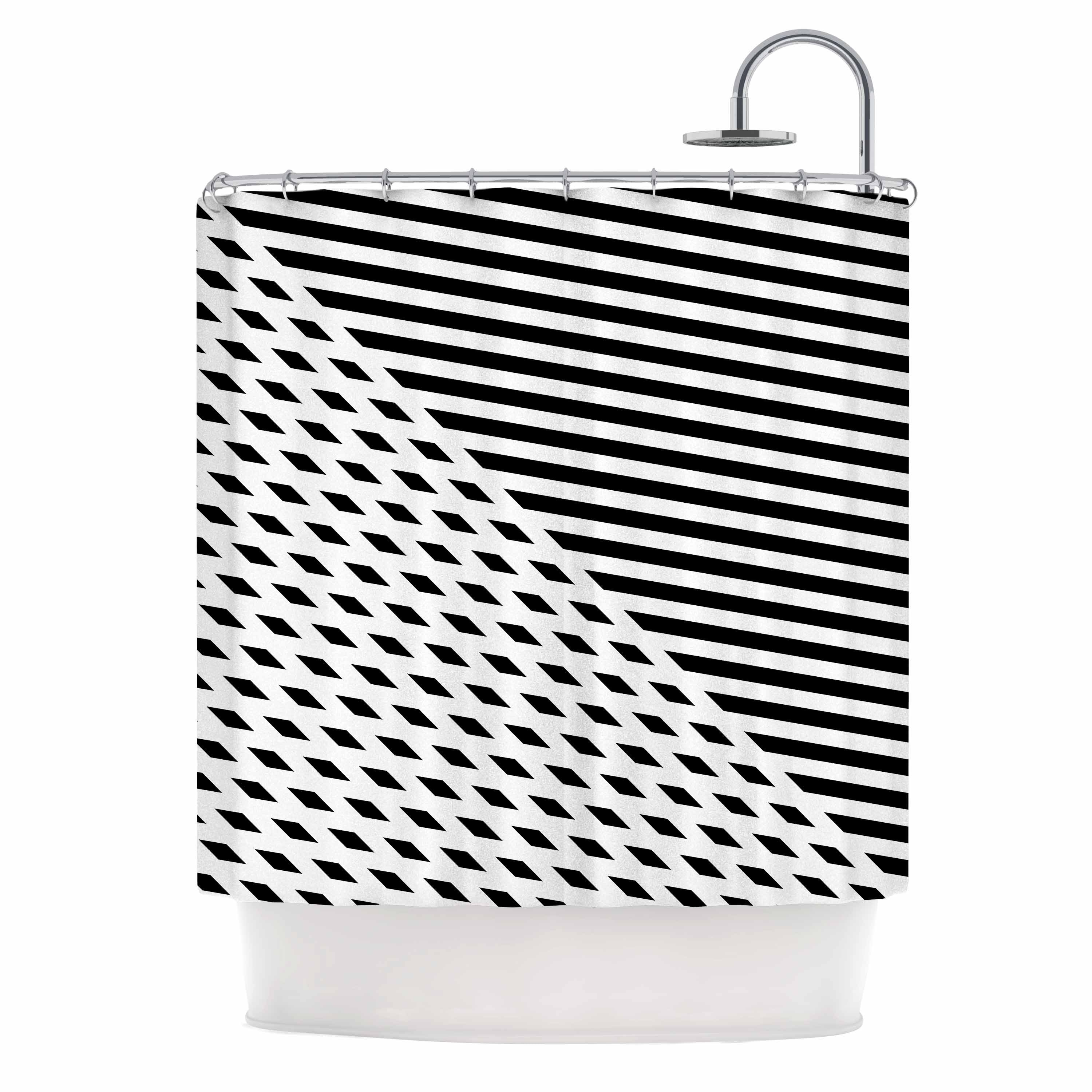 Fimbis Ovrlap Black And White Black White Stripes Geometric Vector Digital Shower Curtain