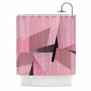 69 x 70 Shower Curtain Kess InHouse Miranda MOL Watercolor Zigzag Pink Black Pattern