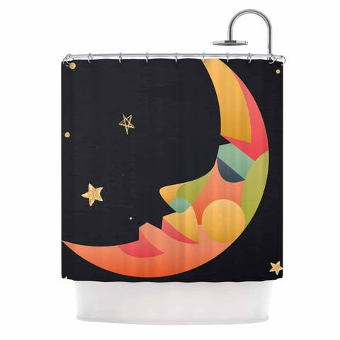 """Fotios Pavlopoulos """"Colorful Moon"""" Black Gold Celestial Nature Mixed Media Illustration Shower Curtain"""