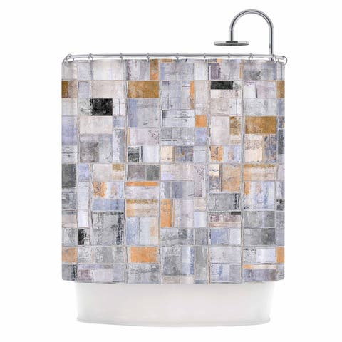 "Susan Sanders ""Gray Tan Tile Squares"" Gray Beige Photography Shower Curtain"