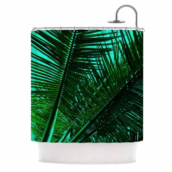 "pia-schneider-""greenery-palm-leaves-v2""-green-teal-nature-pop-art-photography-mixed-media-shower-curtain by kess-inhouse"