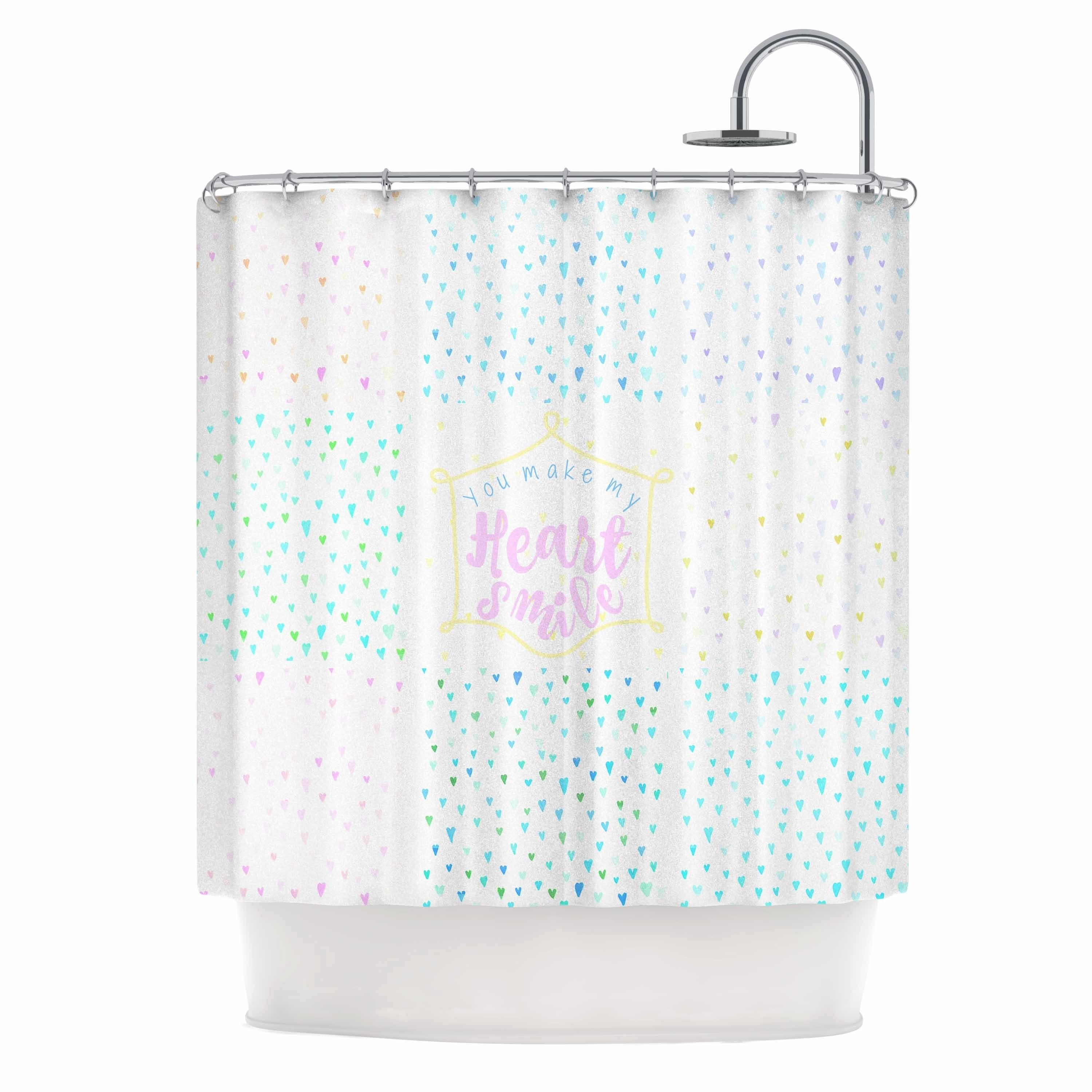 Kess Inhouse Qing Ji Love Is All We Need Teal Black Shower Curtain Shower Curtains Hooks Liners 69 By 70 Home Kitchen Bath