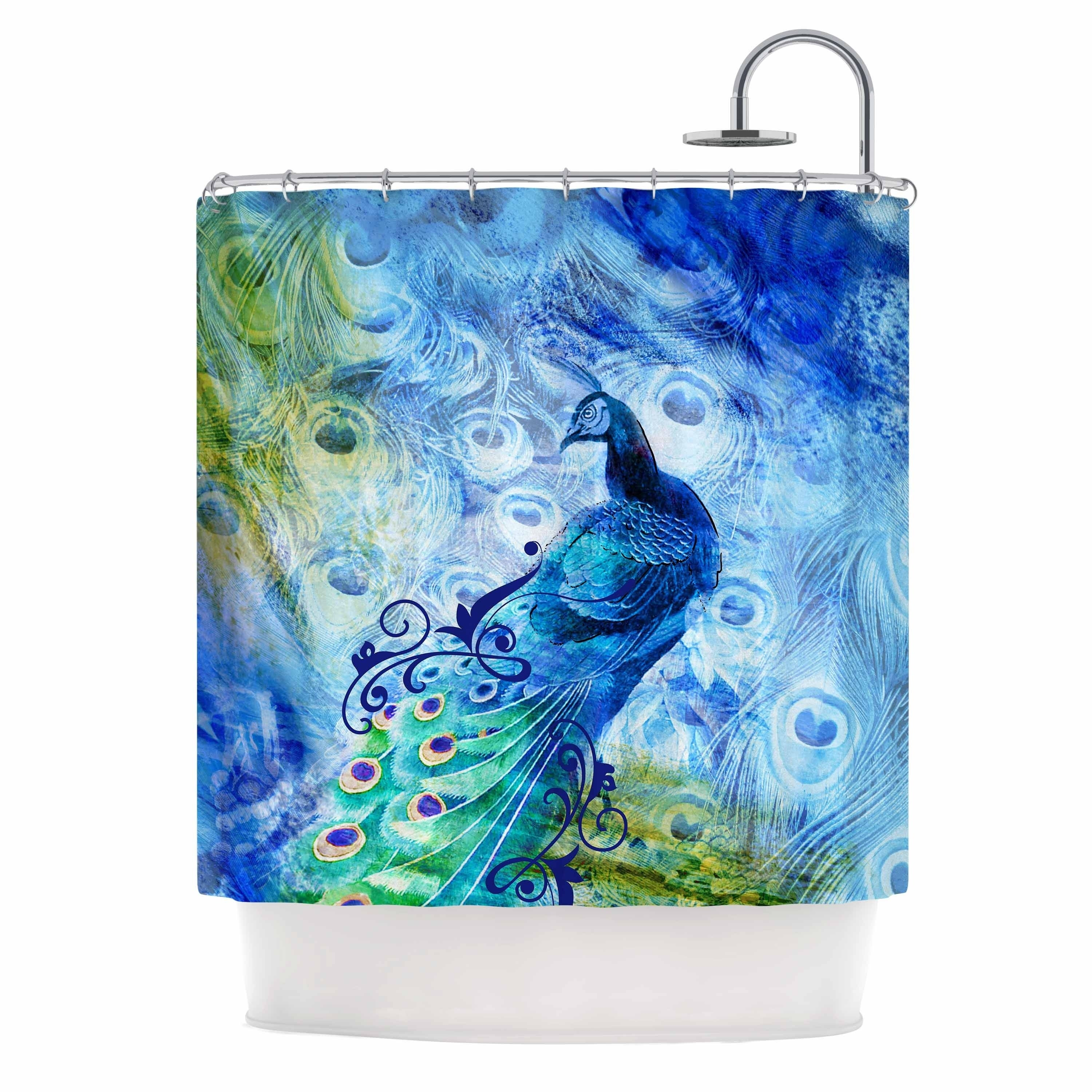 Shop Victoria Krupp Blue Peacock Blue Yellow Digital Shower Curtain On Sale Overstock 28418761