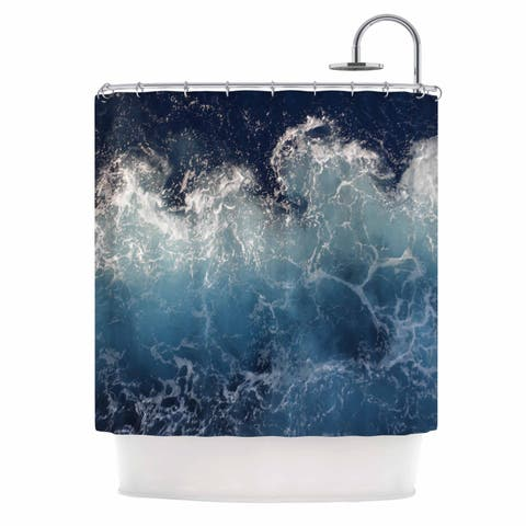 "Suzanne Carter ""Sea Spray"" Navy Ocean Shower Curtain"