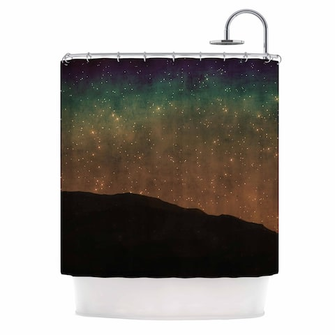 """Sylvia Coomes """"Star Light"""" Teal Brown Shower Curtain"""