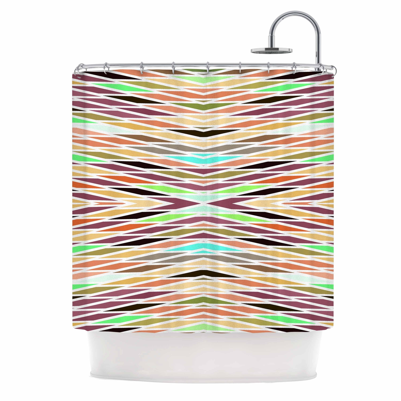 Matthias Hennig Indian Summer Stripes Multicolor Beige Abstract Stripes Digital Vector Shower Curtain