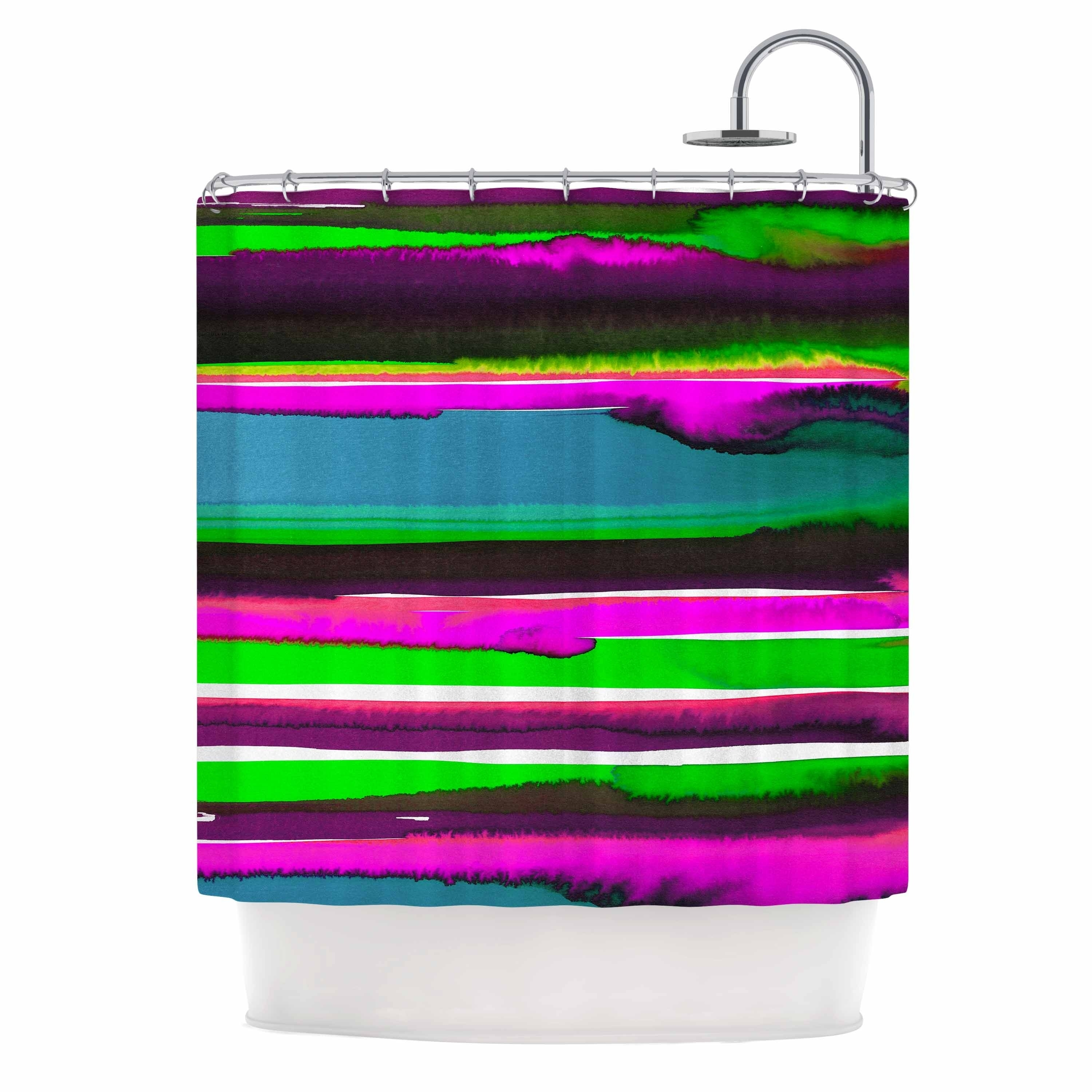 Miranda Mol Multicolor Sunset Pink Teal Pink Teal Abstract Stripes Watercolor Painting Shower Curtain