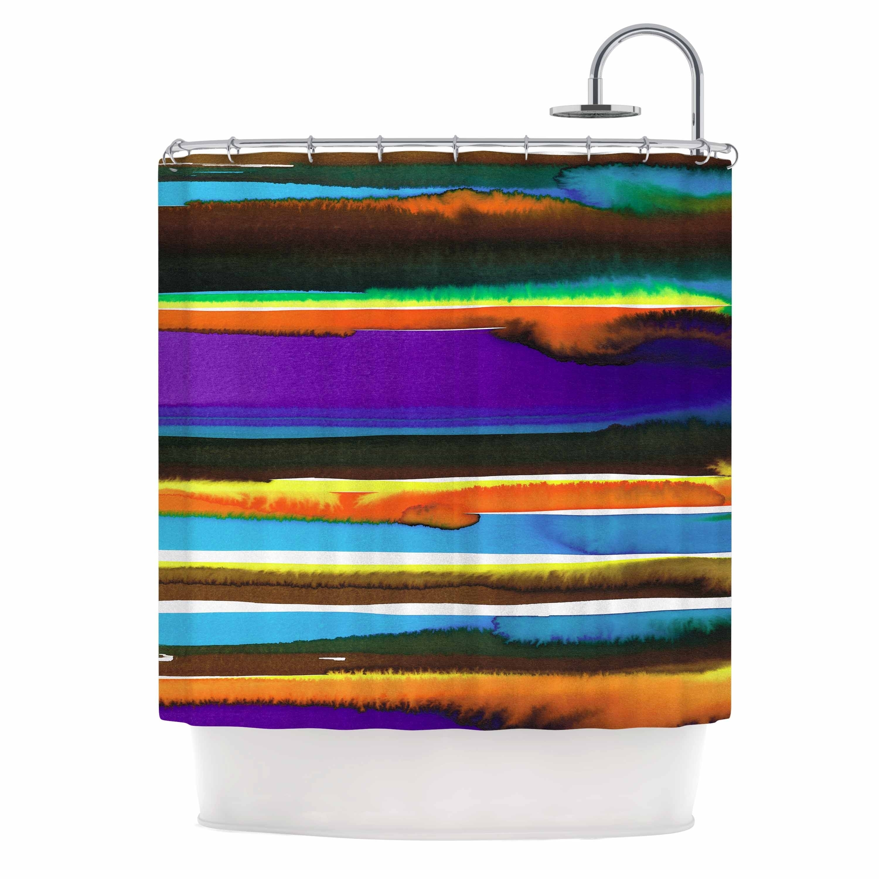 Miranda Mol Multicolor Sunset Purple Gold Abstract Stripes Watercolor Painting Shower Curtain
