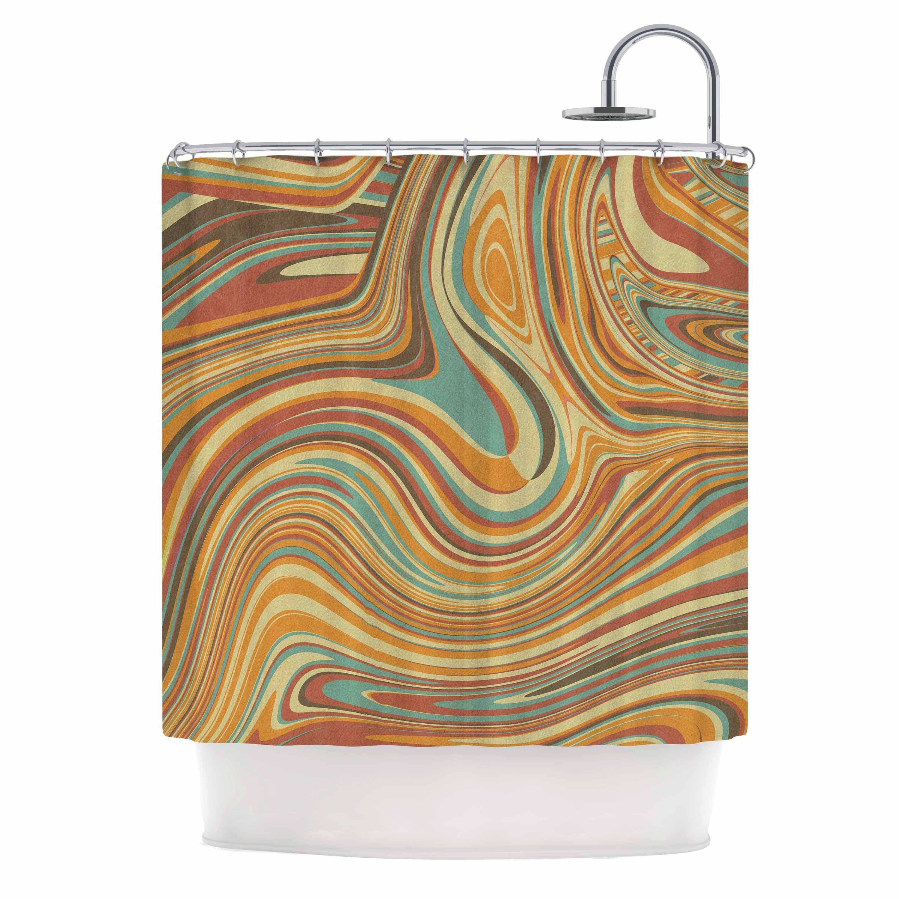 Tobe Fonseca Rainbow Marble Organic Texture Maroon Multicolor Digital Shower Curtain