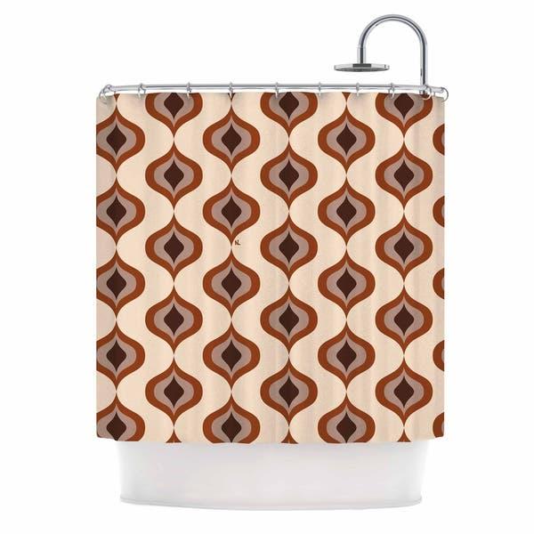 Nl Designs Retro Pattern Orange Tan Brown Vintage Digital Vector Shower Curtain