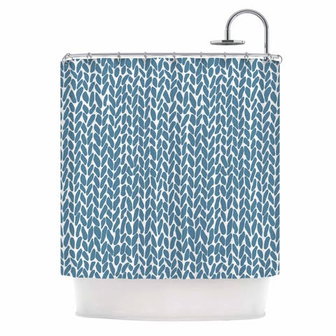 "Project M ""Hand Knit Blue 2"" Blue White Digital Shower Curtain"