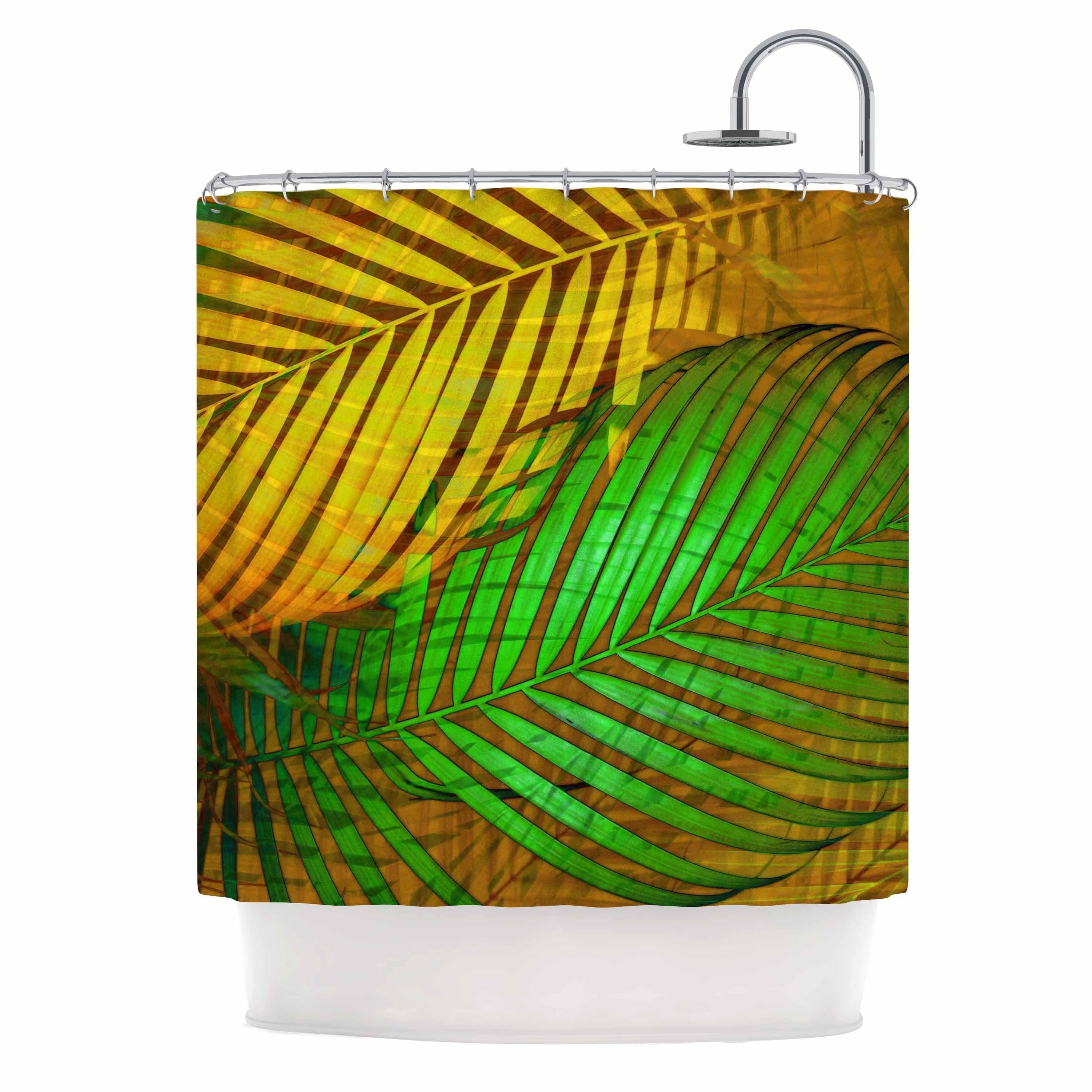 Pia Schneider Tropical Leaves Autumn Maple Green Yellow Nature Pop Art Photography Mixed Media Shower Curtain