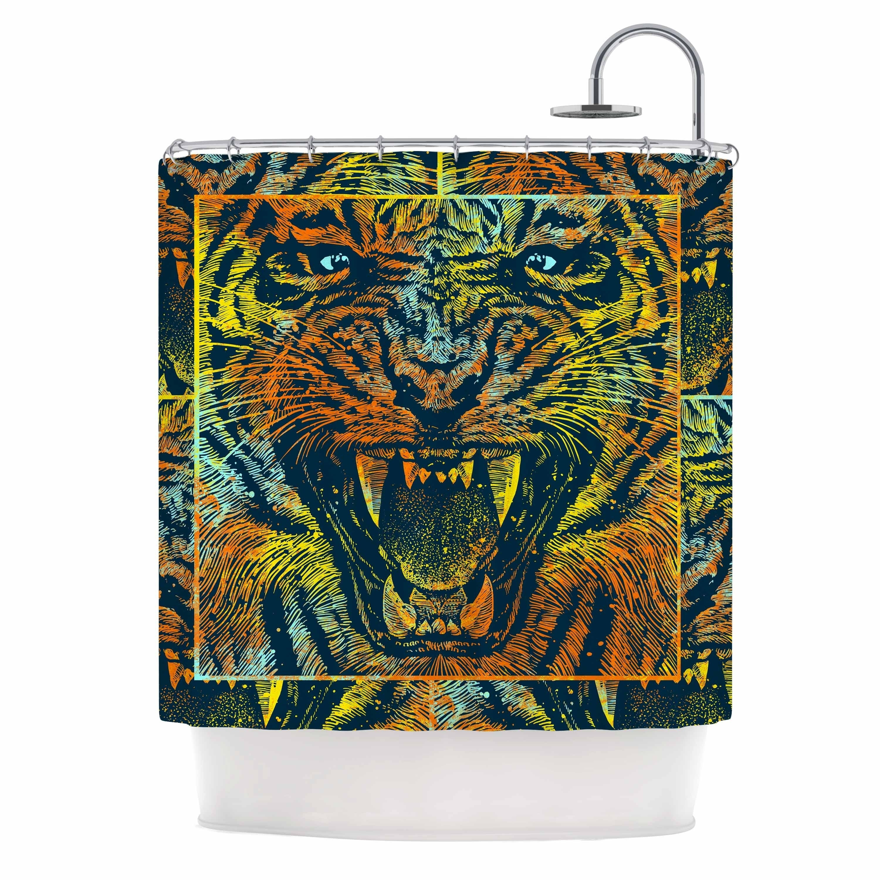 Close Tiger Waterproof Bathroom Polyester Shower Curtain Liner Water Resistant