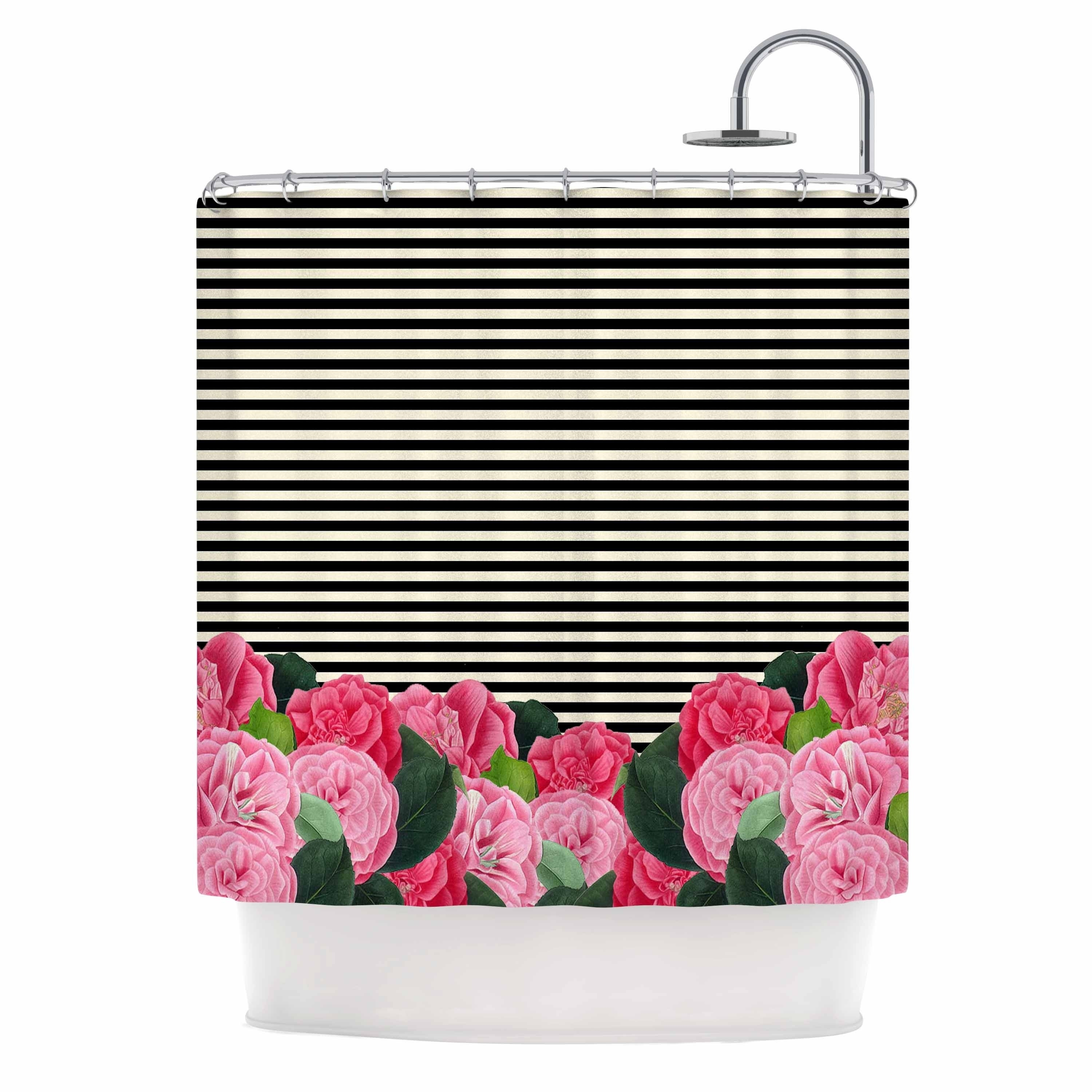 Suzanne Carter Floral Stripes Shower Curtain