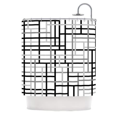 """Trebam """"Veza V"""" Gray Lines Shower Curtain"""