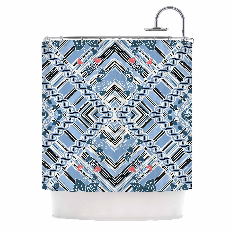 Victoria Krupp Render Rhythm Blue White Stripes Abstract Vector Illustration Shower Curtain